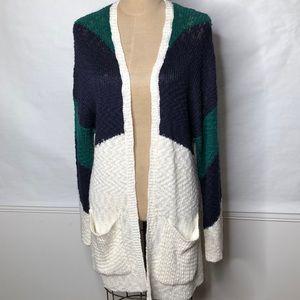 Roxy long color block chevron pattern cardigan